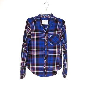 Abercrombie & Fitch Red and Blue Plaid Flannel